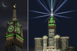 ساعة مكة تبهر العالم وجميع انظار ضيوف بيت الله شىء مبهر حقا شاهد بالصور